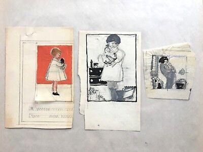 Margaret Iannelli 3 original drawings Prairie School peer of FL Wright c.1925