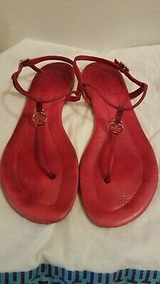 7f7077bc1 TORY BURCH MILLER Ruby Jewel Red Patent Leather Flip Flop Sandals ...
