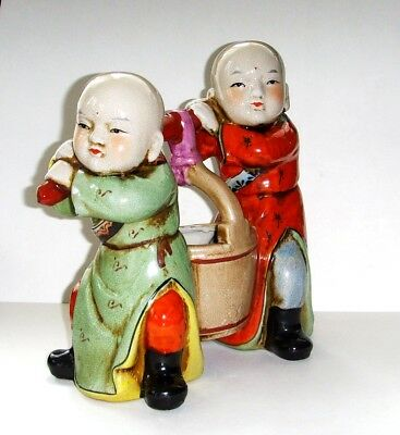 Antique Chinese ceramic & porcelain figurine watercarriers.