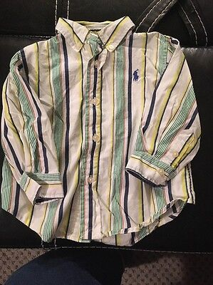 Ralph Lauren Dress Shirt Boys Toddler Blue Stripe 12mo Euc