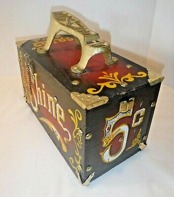 VINTAGE~1950s WOOD SHOE SHINE BOX~5 CENT~Brass~Display~2 Brush Contents~Prop