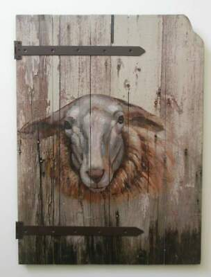 "Farmhouse Barnyard Sheep Wood Barn Door Style Hand Painted Wall Decor 26"" x 19"""