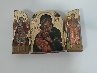 Vintage Miniature Orthodox Madonna and Child Triptych