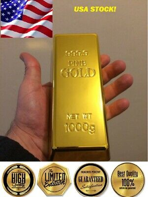 Life Size Beautiful Brick Ingot Gold Bar Replica Movie-Video Props-Ships Fast US