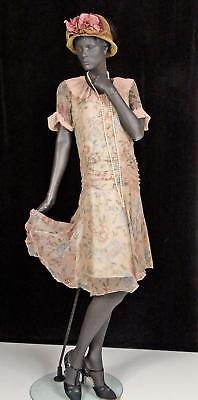 1920s 1930s Flapper Dress Peach Floral Silk Chiffon Drop Waist  Sz 4-6 #1407