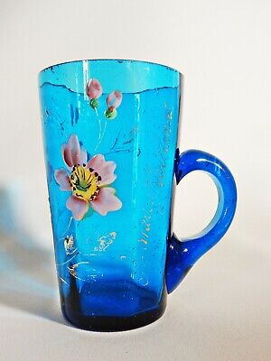 Antique Victorian 1890 Blue Glass Gold Floral Overlay A Merry Christmas Mug Cup