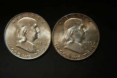 Pair of 2 BU Silver Franklin Half Dollars dated 1954-D and 1955