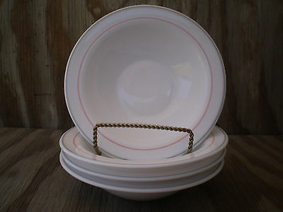 Arcoroc Dishes Milk Glass Soup, Cereal Or Salad Bowls Set Of 4 Grey & Pink Band
