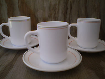 Arcoroc Dishes Milk Glass Cups & Saucers Grey & Pink Bands 3 Sets
