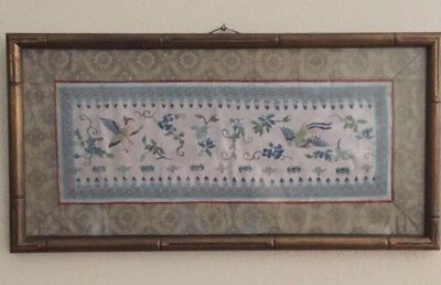 Antique Chinese Silk Forbidden Stitch? Embroidery Wall Frame Birds Blue Flowers