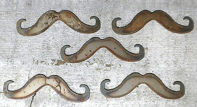 """Lot of 5 Mustache Shapes 4"""" Steampunk Rusty Metal Vintage Stencil Ornament"""