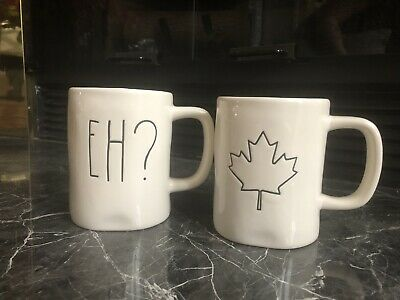 Rae Dunn Canadian Maple Leaf, Eh? Mugs, Set Of 2 /New/ Limited