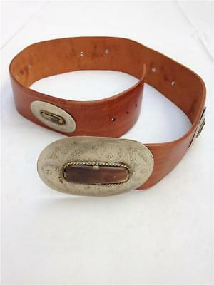 Chico's Leather with Brass & Bovine Buckle & Inserts Belt from Morocco - Size M