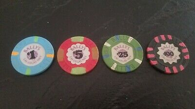 Rare Bally's Las Vegas Casino Chip Set - $1, $5, $25, $100 - Paulson