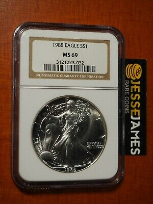 1988 $1 American Silver Eagle Ngc Ms69 Classic Brown Label
