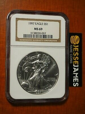 1997 $1 American Silver Eagle Ngc Ms69 Classic Brown Label