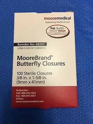 "Moore Medical 68207, MooreBrand Butterfly Closures 3/8"" x 1 5/8"" - box of 100"