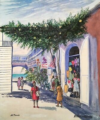 VINTAGE W. Harold Hancock ST THOMAS Acrylic Painting VIRGIN ISLANDS Street Scene
