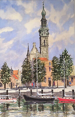 VINTAGE W. Harold Hancock VEERE Holland PAINTING Watercolor EUROPE Netherlands