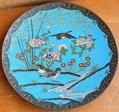 Antique Japanese Cloisonne Platter Charger 12 Inch Birds Flowers