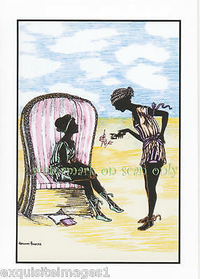 M. Grosze~Art Deco Beach Girls~Chair~NEW Lge Note Cards