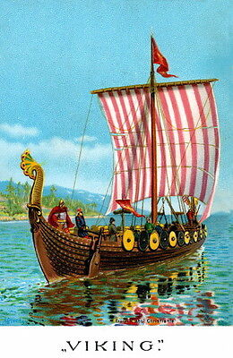 1893 Art~ Viking Ship~Replica of the Ancient Gokstad Ship~NEW Large Note Cards