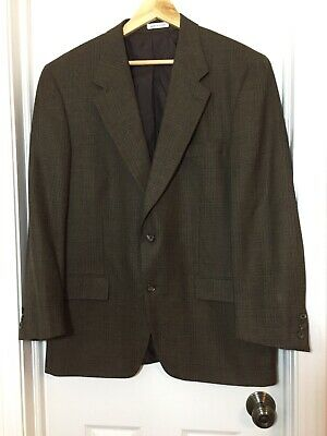 Vintage Yves Saint Laurent Mens Brown Wool Plaid Blazer Sports Coat Jacket 44 R?