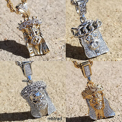 Gold Finish Mini Micro Jesus Piece Small Pendant iced out Necklace Chain hip hop