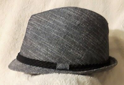 3bd00dfd8 CREMIEUX MEN'S FEDORA Hat Gray/Black Braid Trim Linen/ Cotton S/M ...