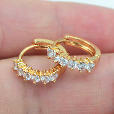 18K Yellow Gold Filled Clear Mystical Topaz Zircon Women Huggie Earrings Jewelry