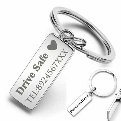 Custom Engraved Keychain Key Ring Logo Name Stainless Steel Personalized Gift