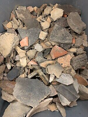 Small Flat Rate Box Full Of Prehistoric Pottery Shards Authentic Arrowheads