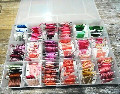 BULK LOT of  EMBROIDERY COTTON on CARDS in STORAGE BOX ( LOT #2) UNUSED