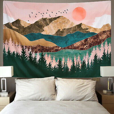 Watercolor Mountain Print Tapestry Art Wall Hanging Tapestries Home Wall Decor