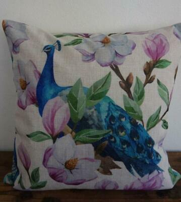 Teal Turquoise Peacocks Pink Magnolia Linen Look Cushion Cover 45cmn