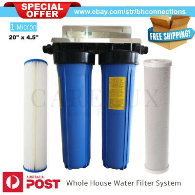 "Quality Twin 20"" x 4.5"" Big Blue Whole House Water Filter System 1 Micron Filter"