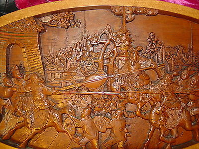 Asian Men Horse Battle Fighting Carved Fig. Wood Oval Plaque Wall Art 29 X 14X1""