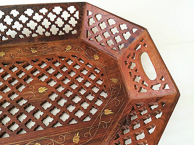 Large CARVED WOOD TRAY with Brass Inlay Made in INDIA