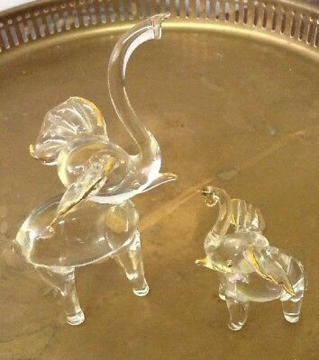 Clear Blown Glass Elephant Pair Mother & Baby Figurines W/ Gold Detail Trunk Up