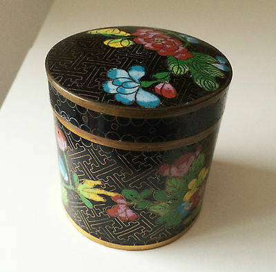 Antique Chinese Cloisonne Jar Box Floral Trinket Holder Tea Caddy