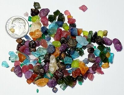 Nice 150+Carat Lot Multi Gem Rough Small Crystals Sapphire Ruby Emerald Tourm+++