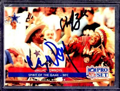 1992 PRO SET Dallas Cowboys CRAZY RAY Redskins CHIEF ZEE AUTOGRAPH Card with COA