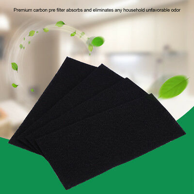 4pcs Universal Black Activated Carbon Foam Sponge Air Impregnated Sheet Filter