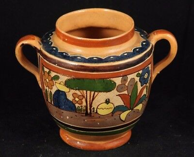 Antique/Vintage Mexican Ceramic Vessel Pottery Hand Made/Painted Folk Art Mexico