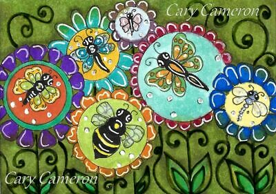 ACEO Original painting Bug Bee dragonfly Flower miniature outsider art C Cameron