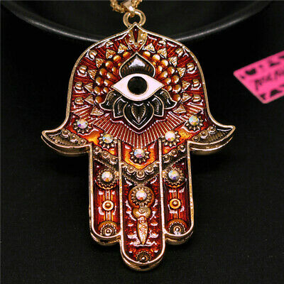 Betsey Johnson Bling Rhinestone Magic Ancient Egypt Eyes Palm Pendant Necklace