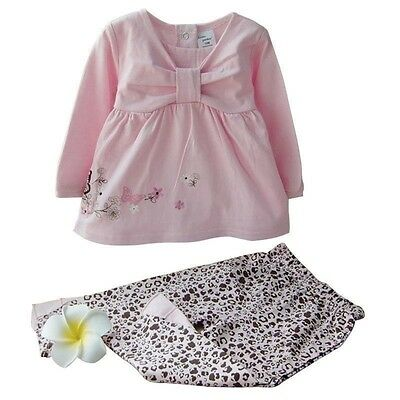 New Butterfly Print Baby Girls Outfits Set Toddler Occasion Kids Clothes UK