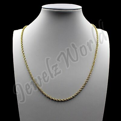 "10K Solid Yellow Gold Necklace Gold Rope Chain 2MM 16"" 18"" 20"" 22"" 24"" 26"" 30"""