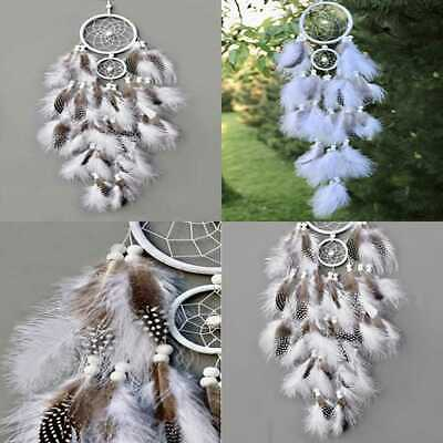 Handmade Native American Indian Dream Catcher WHITE W Real Feathers & Wood Beads
