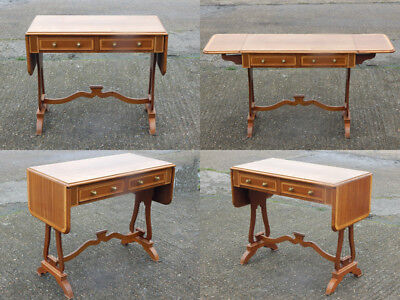 Superb vintage reproduction wooden drop end leaf sofa back table with 2 drawer